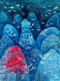 Watercolor cartoon underwater blue landscape