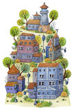 Watercolor cartoon village with lighthouse, houses and trees on mountain. Fairytale landscape. Stock Photography