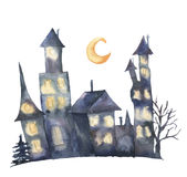 Watercolor castle with glowing windows and moon. Hand painted magic Helloween illustration isolated on white background. Watercolor castle with glowing windows Royalty Free Stock Photos