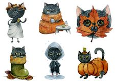 Set of cute black autumn cats watercolor royalty free illustration