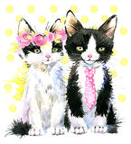 watercolor cat family illustration Royalty Free Stock Photography