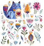 Watercolor cat and flower Stock Images