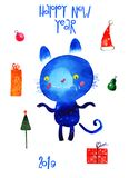 Watercolor cat , new year set, cartoon illustration isolated on white background. Watercolor blue cat , new year set 2019, cartoon illustration isolated on white royalty free illustration
