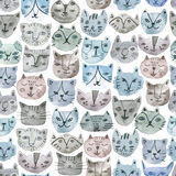 Watercolor cat seamless pattern. Cute illustration. On white background Royalty Free Stock Images