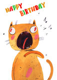 Watercolor cat sings. Watercolor cartoon cat sings hand drawn  on white background Royalty Free Stock Photography