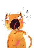 Watercolor cat sings, vector illustration Royalty Free Stock Photo