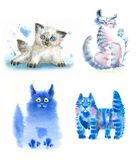 Watercolor cats blue. Watercolor cats, blue, nice sweet and funny royalty free illustration
