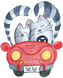 Watercolor cats in just married red car. Hand-drawn cartoon illustration for greeting cards, invitations, Valentine`s cards Stock Photos
