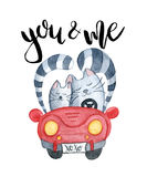 Watercolor cats in just married red car Royalty Free Stock Photos