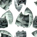 Watercolor cats pattern Stock Images