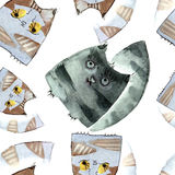 Watercolor cats pattern Stock Image