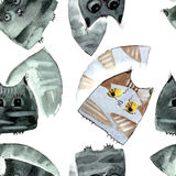 Watercolor cats pattern Stock Photography