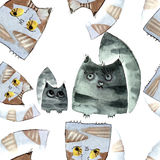 Watercolor cats pattern Royalty Free Stock Photo