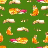 Watercolor cats seamless wallpaper. Cartoon animals children illustration. Emoji green pattern background. Watercolor cats seamless wallpaper. Cartoon animals royalty free illustration