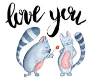 Watercolor Cats With Inscription Love You Royalty Free Stock Image