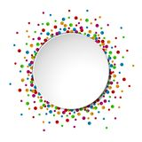 Watercolor celebration background with confetti and round white paper space for text. Illustration of Watercolor celebration background with confetti and round Stock Photography