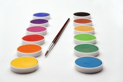 Watercolor cells. And brush over white Royalty Free Stock Photos