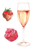 Watercolor champagne strawberry chocolate cupcake set  Royalty Free Stock Photo