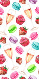 Watercolor champagne strawberry chocolate cupcake set isolated Stock Image