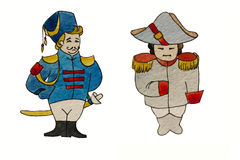 Watercolor characters dragoon and french general. Cartoon illustration Royalty Free Stock Photo