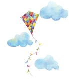Watercolor checkerboard kite air set. Hand drawn vintage kite with flags garlands, clouds and retro design. Illustrations isolated. Watercolor checkerboard kite Stock Photo