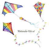 Watercolor checkerboard and striped kites air set. Hand drawn vintage kite with retro design. Illustrations isolated on white back Royalty Free Stock Image