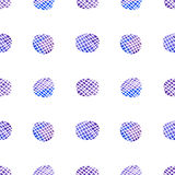 Watercolor checkered circles seamless abstract vector pattern (blue-purple colors). Royalty Free Stock Photos