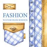 Watercolor checkered textile border  Royalty Free Stock Image