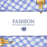 Watercolor checkered textile borders royalty free illustration