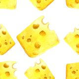 Watercolor cheese seamless Stock Image