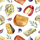 Watercolor cheese set with place for text. Cheese making various types with green leaves and figs. Hand draw card background.  Watercolor illustration with Stock Photos