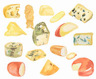 Watercolor cheese set. Royalty Free Stock Photography
