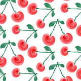 Watercolor cherries background Royalty Free Stock Photo