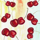 Watercolor cherries. Couple of cherries on watercolor background Royalty Free Stock Image