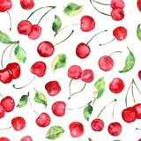 Watercolor cherries fruit seamless pattern. Seamless background can be used for scrapbooking, cards and so on Royalty Free Stock Photo