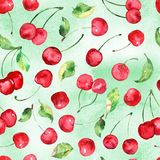 Watercolor Cherries fruit seamless pattern on watercolor green background. Seamless pattern can be used for scrapbooking, cards and so on Stock Image