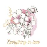 Watercolor Cherry Blossom love card with golden floral elements. Everything is in love. Pink sakura. Valentine`s day