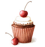 Watercolor cherry muffin Stock Image