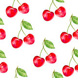 Watercolor cherry, Ornament with berry, Nature theme, Seamless vector pattern, Watercolor paint for gift box, wallpaper vector illustration