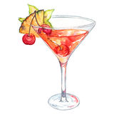 Watercolor cherry pineapple carambola alcohol cocktail isolated Royalty Free Stock Photo