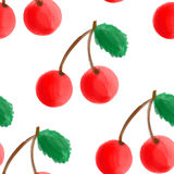 Watercolor cherry. Seamless pattern with watercolor cherry Stock Photo