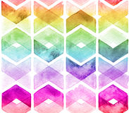 Watercolor chevron rainbow colors. Seamless pattern for fabric Stock Photos