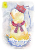 Watercolor chicken. Beautiful yellow watercolor chicken. Hand drawn illustration for your graphic design. Cock - Symbol of New Year 2017. Hand lettering Stock Images