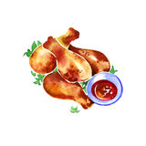 Watercolor chicken fried on a white background Royalty Free Stock Photo