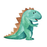 Watercolor childish dinosaur. Watercolor green dinosaur on white background. child's drawing Royalty Free Stock Image