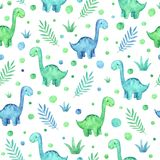 Watercolor childish seamless pattern with blue, green dinosaurs and plants stock illustration