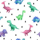 Watercolor childish seamless pattern with dinosaurs vector illustration