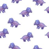 Watercolor childish seamless pattern with purple dinosaurs stock illustration