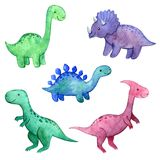 Watercolor childish set with dinosaurs.  stock illustration