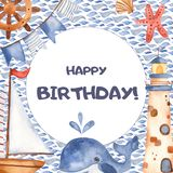 Watercolor children card with cute cartoon lighthouse, whale, sailboat. vector illustration